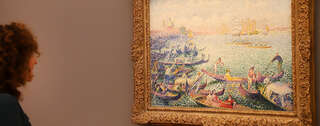 "Das Gemälde ""Regatta in Venedig"" von Henri-Edmond Cross im Museum Barberini. Foto: Manfred Thomas/ PNN"